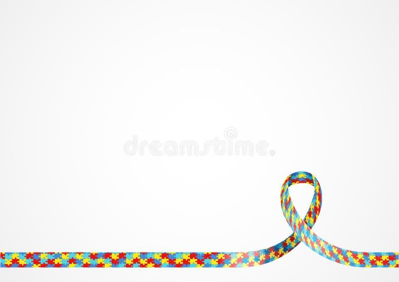 Fondo de la cinta de la conciencia del autismo stock de ilustración