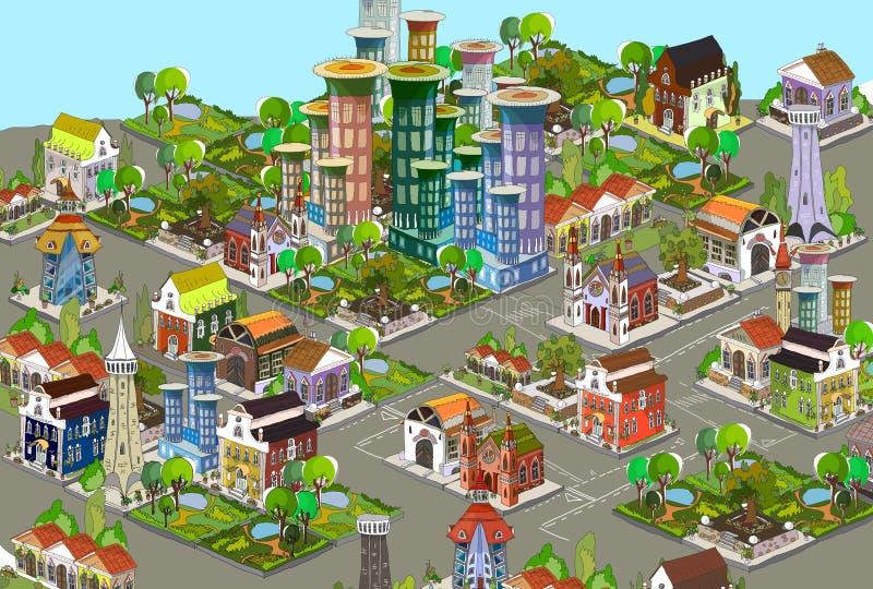 fondo de la ciudad 3D ilustración del vector