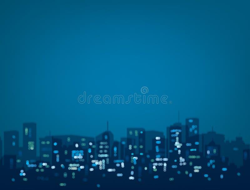 Fondo de la ciudad de la noche del bokeh del vector stock de ilustración