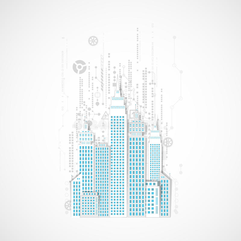 Fondo de la ciudad de la tecnología libre illustration