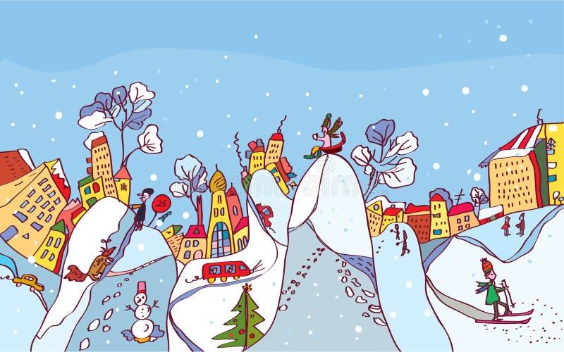 Fondo de la ciudad del invierno de la Navidad divertido ilustración del vector