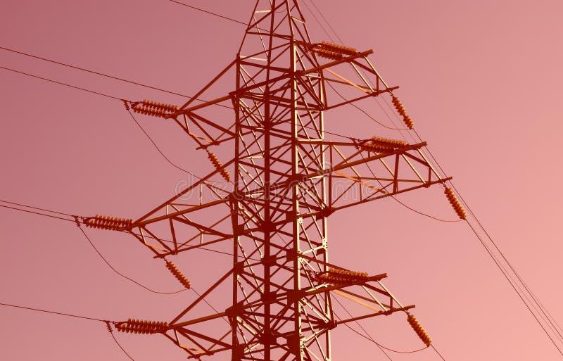 Fondo de la ciudad de la línea eléctrica de la puesta del sol imagen de archivo libre de regalías
