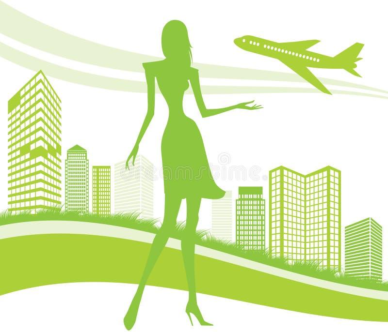 Fondo de la ciudad, urbano y del aeropuerto stock de ilustración