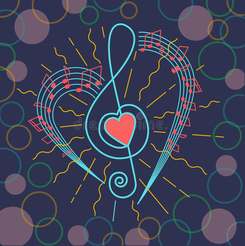 Fondo de la clave de sol musical ilustración del vector