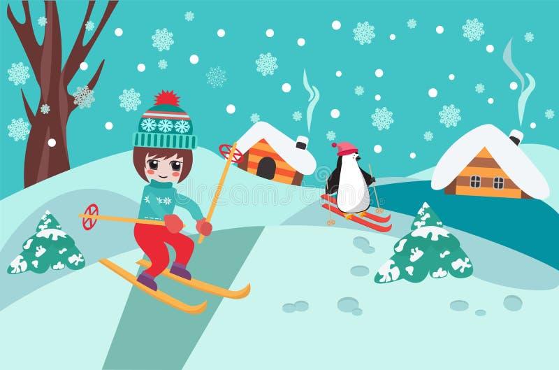 Fondo de la colección de la Feliz Navidad con el skiin lindo de la muchacha del chibi ilustración del vector