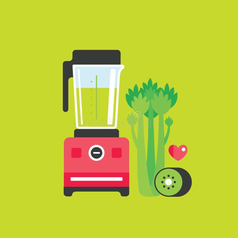Fondo de la comida del apio y de Kiwi Healthy de la licuadora stock de ilustración