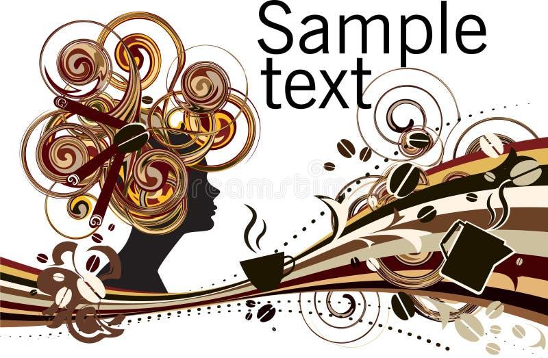 Fondo de la composición del extracto de la muchacha del canela de los granos de café stock de ilustración