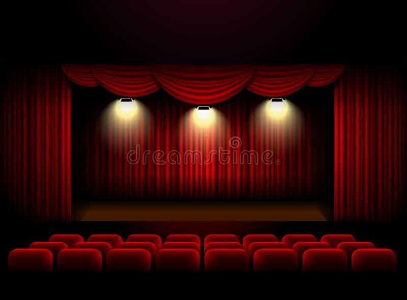 Fondo de la cortina de la etapa del teatro ilustración del vector