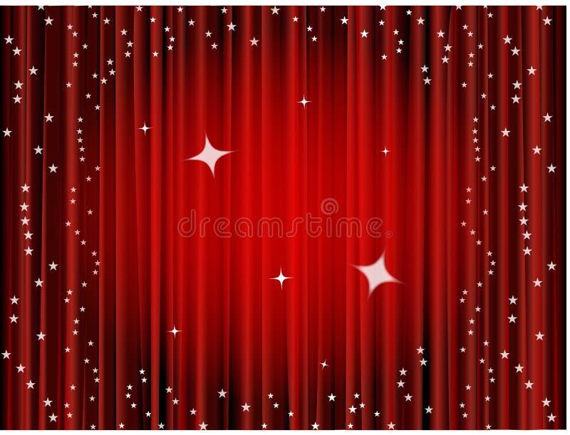 Fondo de la cortina del teatro, cortina de la película stock de ilustración
