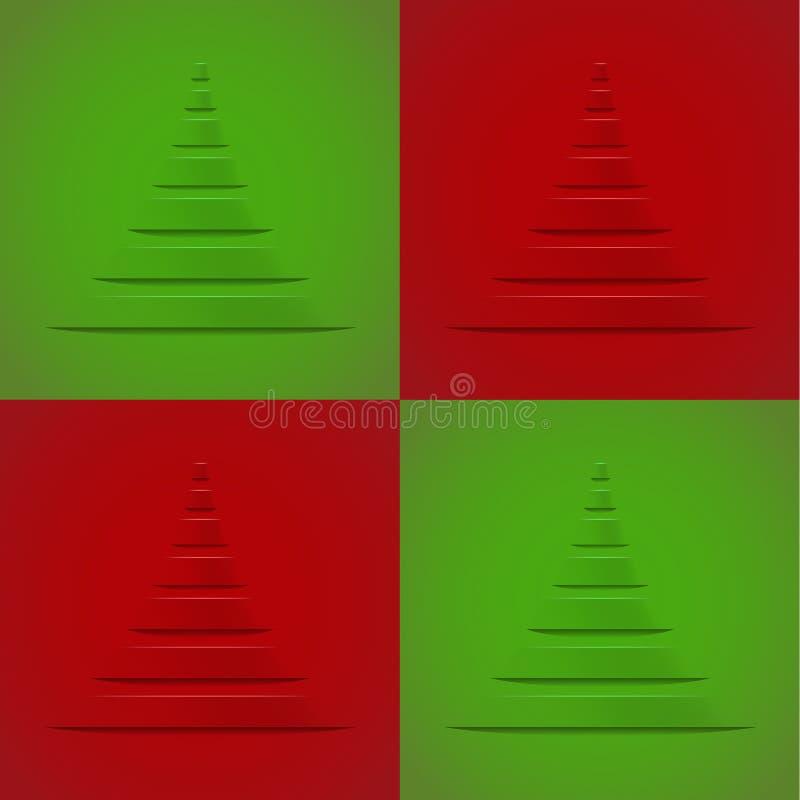 Fondo de la decoración de la Navidad con el árbol de navidad estilizado ilustración del vector