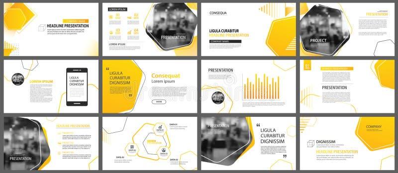 Fondo de la disposición de la presentación y de la diapositiva Amarillo y Orán del diseño stock de ilustración