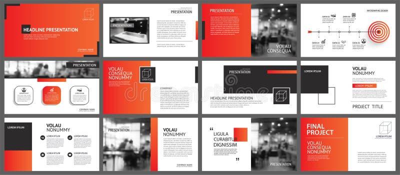 Fondo de la disposición de la presentación y de la diapositiva Plantilla roja de la pendiente del diseño Uso para el informe anua libre illustration