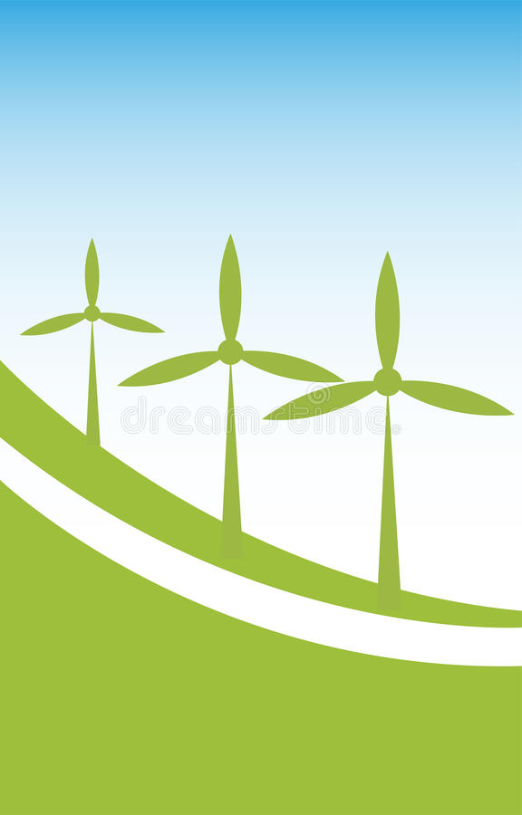 Fondo de la energía de la energía eólica ilustración del vector
