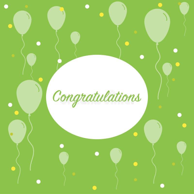 fondo de la enhorabuena con muchos saludos de la bandera de los globos libre illustration