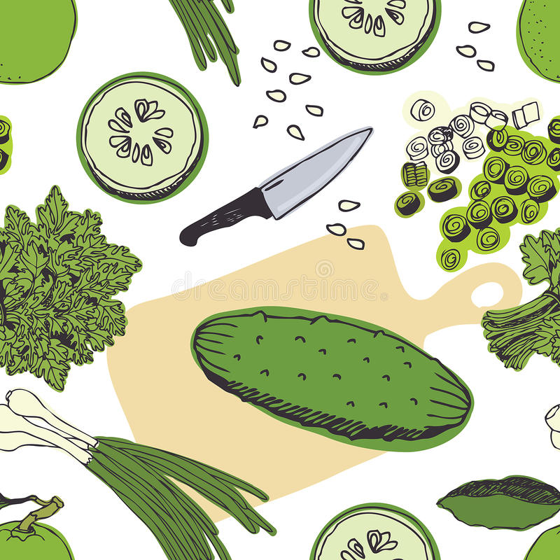 Fondo de la ensalada del pepino stock de ilustración