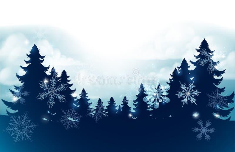 Fondo de la escena de la nieve de los árboles de navidad de la silueta stock de ilustración
