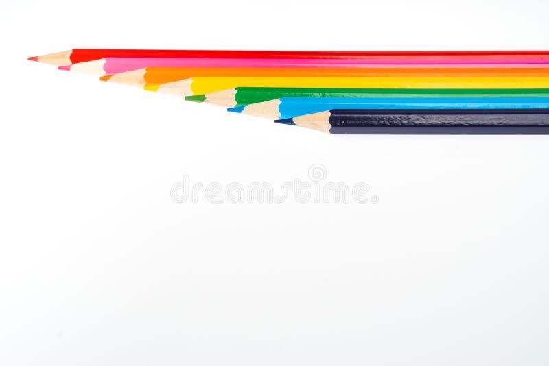 Fondo de la escuela con varios lápices coloreados imagen de archivo libre de regalías