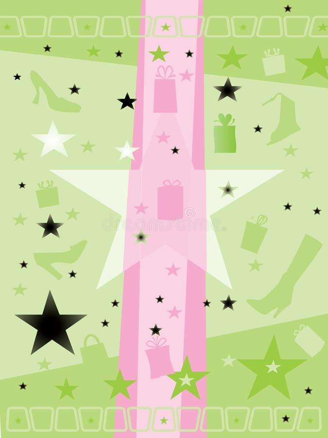 Fondo de la estrella, del regalo y del zapato libre illustration