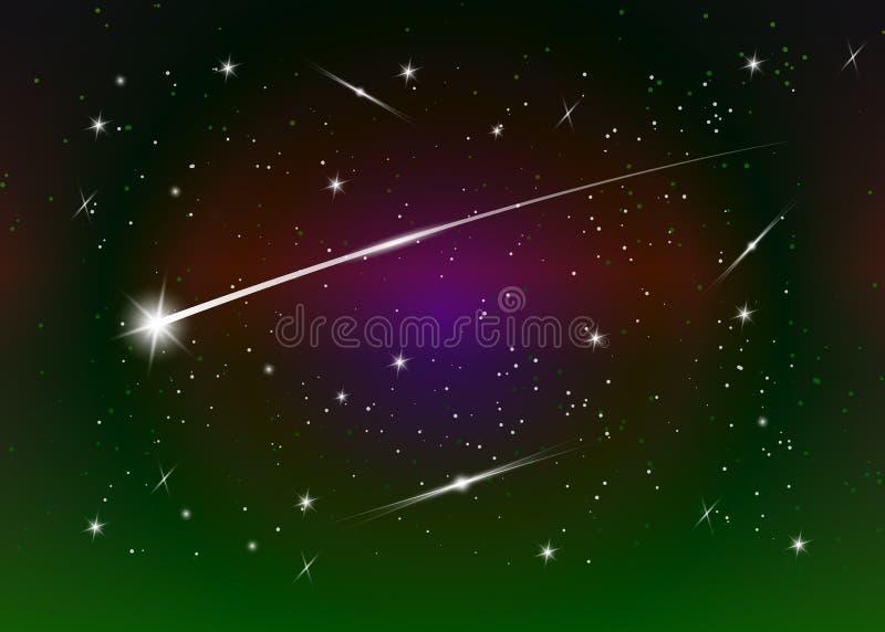 Fondo de la estrella fugaz contra el cielo nocturno estrellado azul marino, ejemplo del vector ilustración del vector