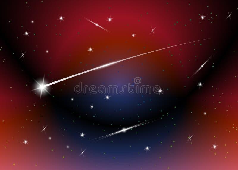 Fondo de la estrella fugaz contra el cielo nocturno estrellado azul marino, ejemplo del vector stock de ilustración