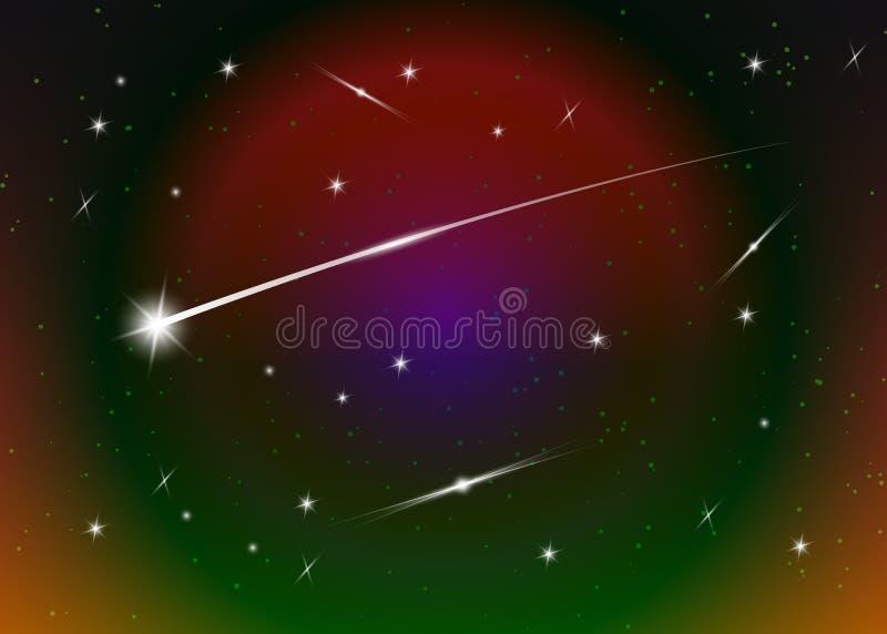 Fondo de la estrella fugaz contra el cielo nocturno estrellado azul marino, ejemplo del vector Fondo del espacio Galaxia colorida ilustración del vector