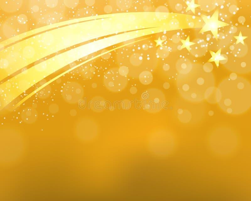 Fondo de la estrella fugaz del oro stock de ilustración