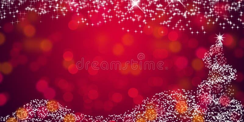 Fondo de la estrella de la Navidad con el papel pintado abstracto rojo de-enfocado del fondo de las luces imagen de archivo