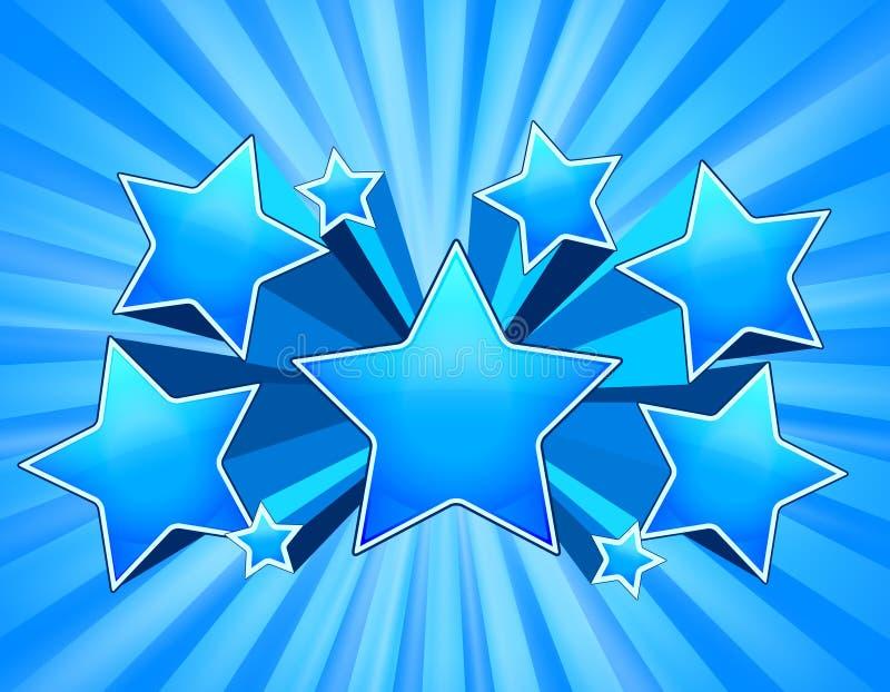 Fondo de la explosión de la estrella azul stock de ilustración