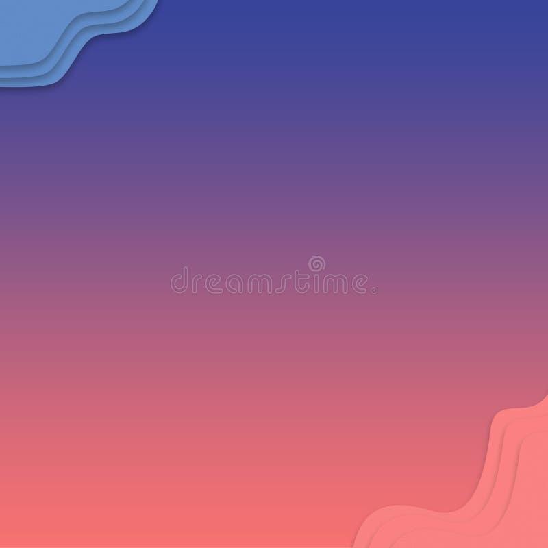 Fondo de la falta de definición del extracto del rosa de la pendiente Las nubes planas diseñan la plantilla futurista moderna par stock de ilustración