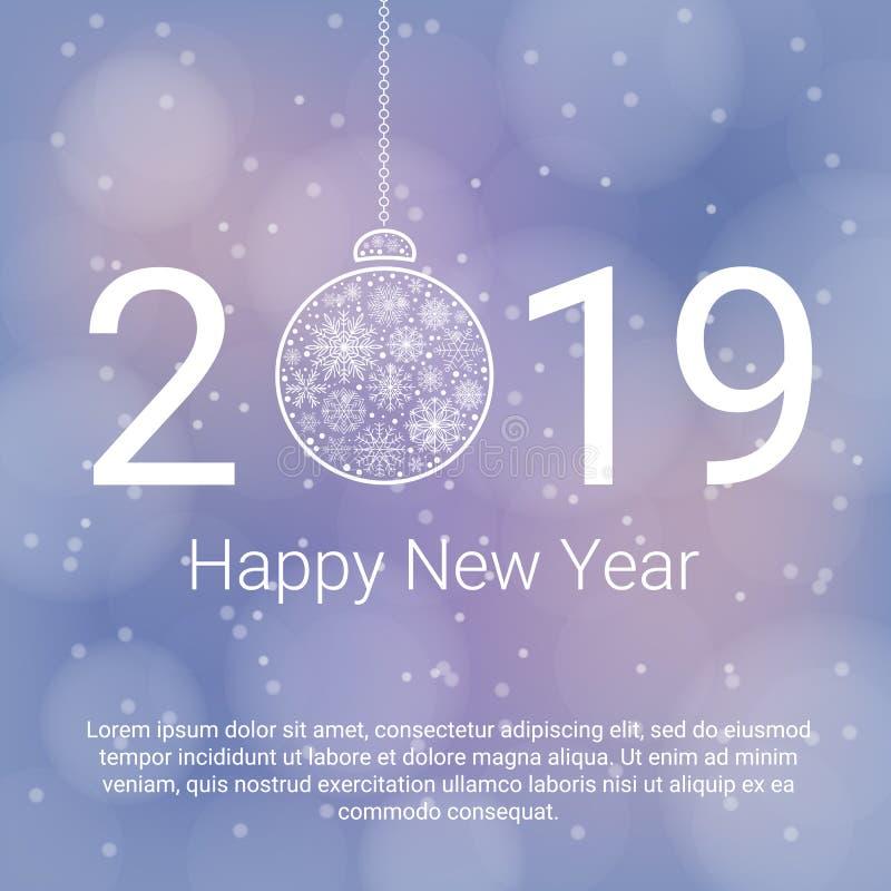 Fondo de la Feliz Año Nuevo 2019 con la bola de la Navidad y copos de nieve en fondo abstracto azul Saludo del vector ilustración del vector