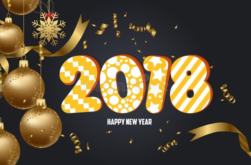 Fondo 2018 de la Feliz Año Nuevo con la bola de la Navidad y el oro del confeti stock de ilustración