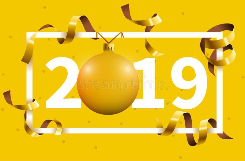 Fondo de la Feliz Año Nuevo 2018 con la bola de oro del juguete del árbol de navidad stock de ilustración