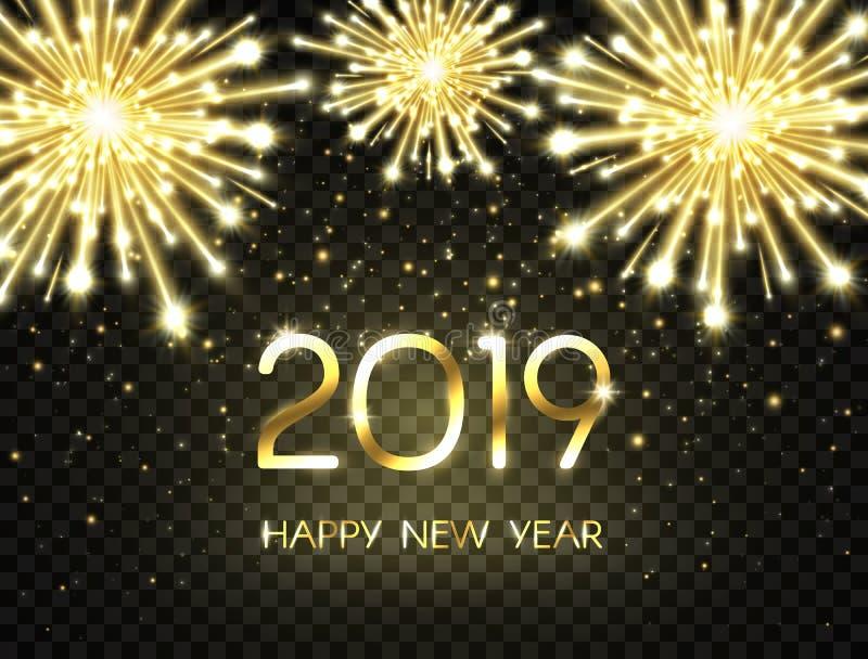 Fondo de la Feliz Año Nuevo 2019 con brillo, fuegos artificiales, chispas y estrellas Contexto del día de fiesta con el texto de  stock de ilustración