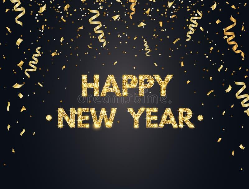 Fondo de la Feliz Año Nuevo 2019 con confeti, brillo, chispas y estrellas del oro Contexto feliz del día de fiesta con de oro stock de ilustración