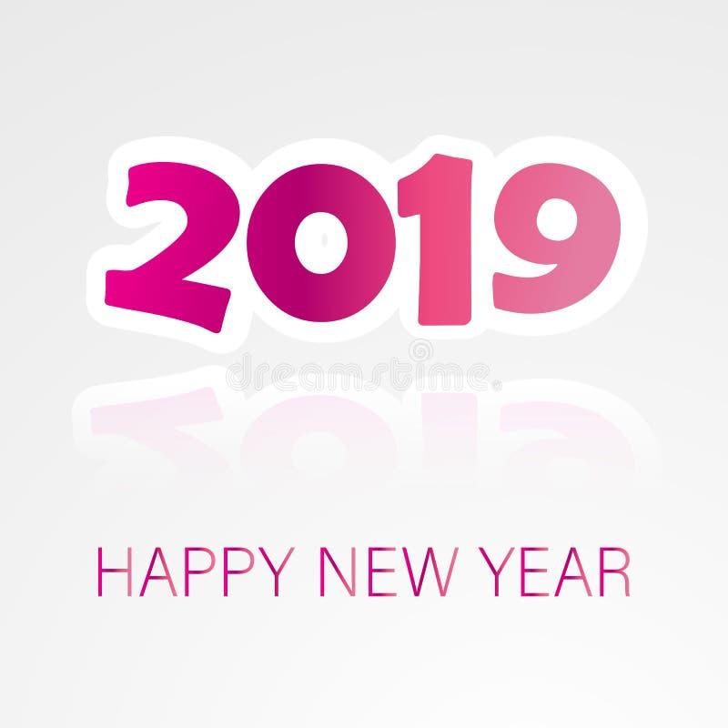 Fondo de la Feliz Año Nuevo 2019 con el texto colorido ilustración del vector