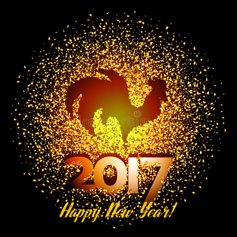 Fondo 2017 de la Feliz Año Nuevo con la silueta brillante del gallo del oro stock de ilustración