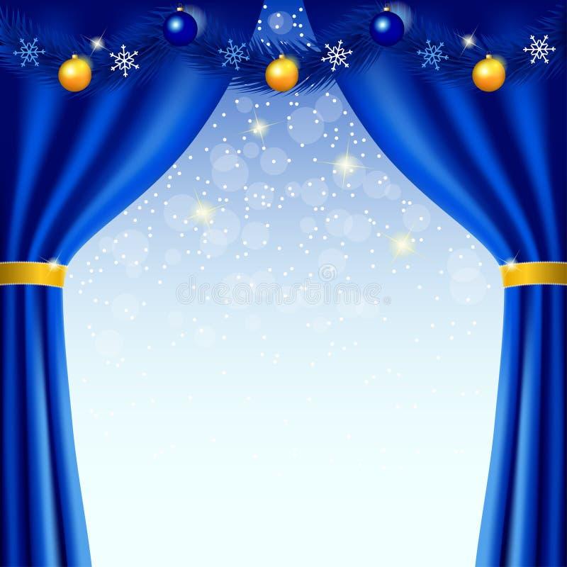 Fondo de la Feliz Año Nuevo con las cortinas azules ilustración del vector