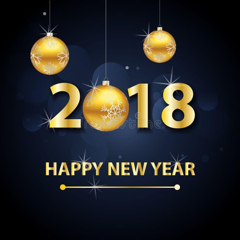 Fondo de la Feliz Año Nuevo 2018 con las letras y las bolas del oro fotografía de archivo