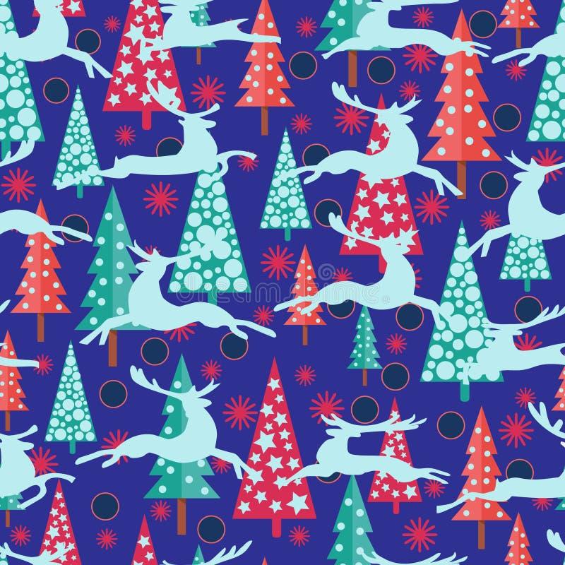 Fondo de la Feliz Año Nuevo con los árboles, los ciervos y el snowfl de Navidad de los abetos stock de ilustración