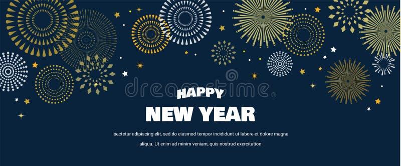 Fondo de la Feliz Año Nuevo con los fuegos artificiales de oro Oro y tarjeta y bandera negras, invitación festiva, cartel del cal stock de ilustración