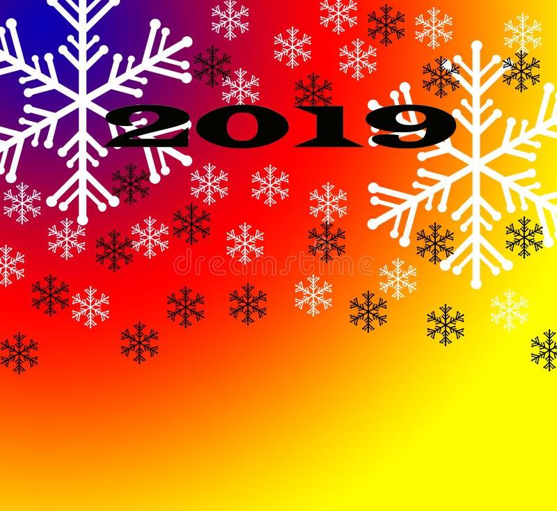 Fondo de la Feliz Año Nuevo 2019 con número Oro número 2019 y Feliz Año Nuevo del texto, plantilla del diseño Diseño de la tarjet stock de ilustración