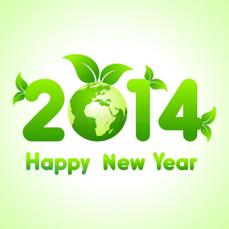 Fondo 2014 de la Feliz Año Nuevo con reserva el concepto del mundo ilustración del vector