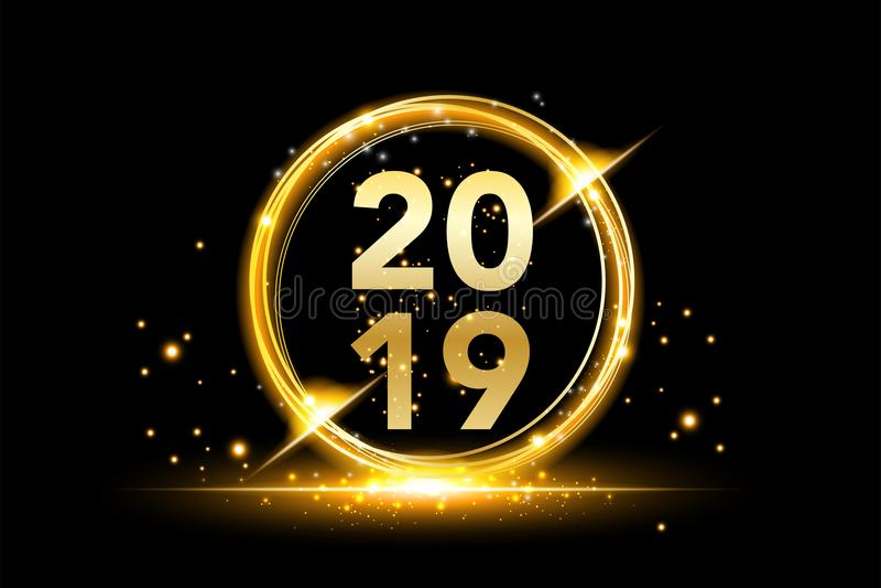 Fondo 2019 de la Feliz Año Nuevo con la salpicadura del confeti del brillo del oro Plantilla superior festiva del diseño para la  ilustración del vector