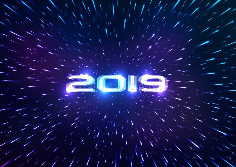 Fondo de la Feliz Año Nuevo del extracto 2019 Fondo abstracto del espacio Vuelo con hyperspace Ilustración del vector stock de ilustración