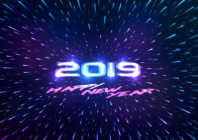 Fondo de la Feliz Año Nuevo del extracto 2019 Fondo abstracto del espacio Vuelo con hyperspace Ilustración del vector libre illustration