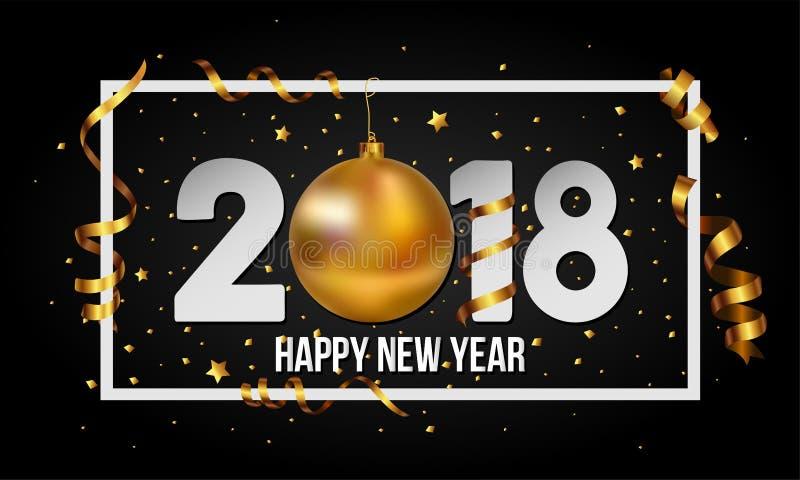 Fondo de la Feliz Año Nuevo del vector 2018 con la chuchería de la bola de la Navidad y los elementos de oro de las rayas stock de ilustración