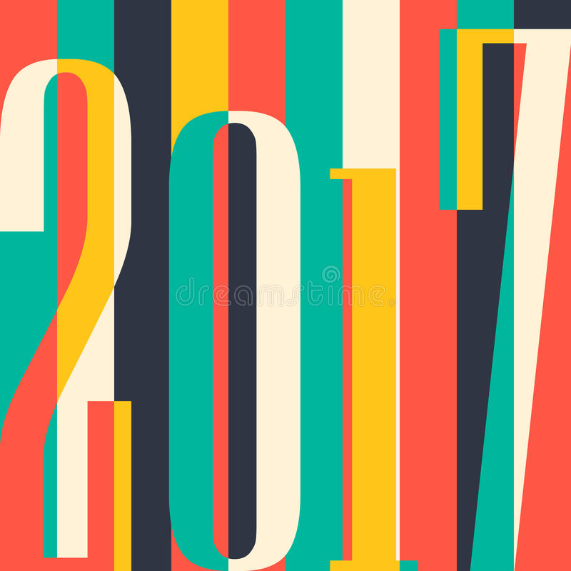 Fondo de la Feliz Año Nuevo del vector 2017 cubierta del calendario, ejemplo tipográfico del vector libre illustration