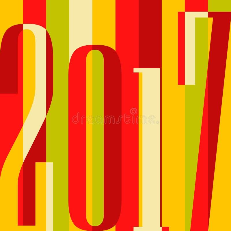 Fondo de la Feliz Año Nuevo del vector 2017 cubierta del calendario, ejemplo tipográfico del vector Diseño colorido plano libre illustration