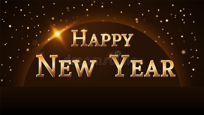 Fondo de la Feliz Año Nuevo Lluvia y globo mágicos del oro Texto y planeta de oro en horizonte Diseño del planeta de la Navidad l libre illustration