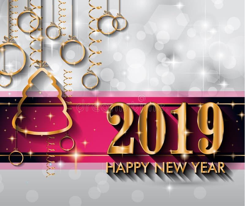 Fondo de la Feliz Año Nuevo 2019 para sus aviadores y Gree estacionales stock de ilustración